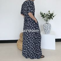 Flower Patterns Casual Style Maxi A-line Dolman Sleeves