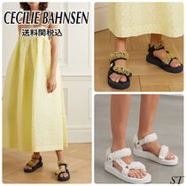CECILIE BAHNSEN Flower Patterns Open Toe Platform Casual Style Street Style