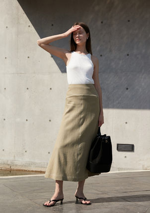 Flared Skirts Casual Style Linen Studded Street Style Plain