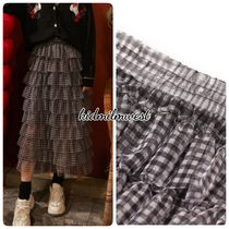 ELF SACK Flared Skirts Gingham Other Plaid Patterns Casual Style