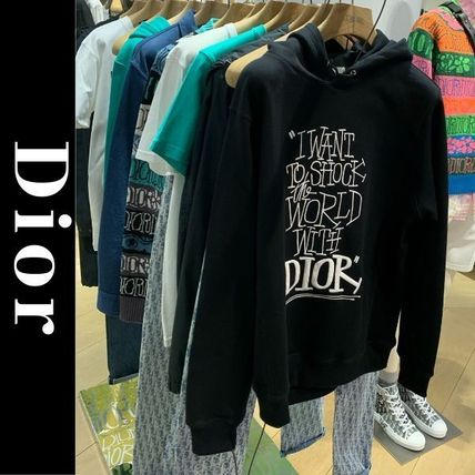 Christian Dior Hoodies Pullovers Street Style Long Sleeves Cotton Logo Luxury