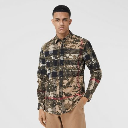 Burberry Other Plaid Patterns Camouflage Long Sleeves Cotton