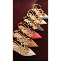 VALENTINO Studded Plain Leather Pin Heels Party Style Elegant Style