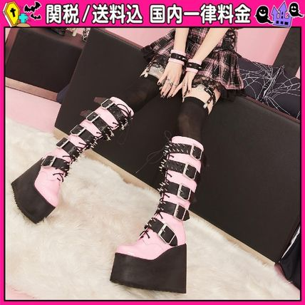 DOLLS KILL Platform Round Toe Lace-up Casual Style Faux Fur Studded