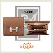 HERMES CONSTANCE Leather Small Wallet Folding Wallets