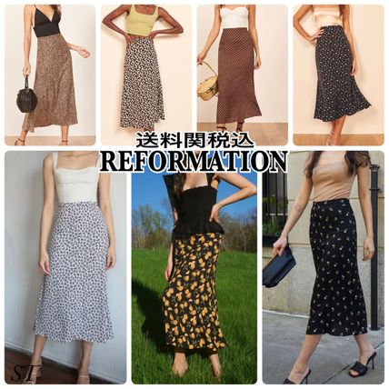 Formal Style  Pencil Skirts Flared Skirts Flower Patterns