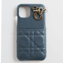 Christian Dior LADY DIOR Plain Leather iPhone 11 Pro Smart Phone Cases
