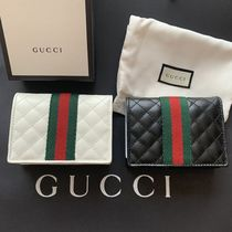 GUCCI Unisex Canvas Blended Fabrics Plain Leather Folding Wallet