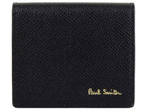 Paul Smith Unisex Plain Leather Folding Wallet Logo Coin Cases