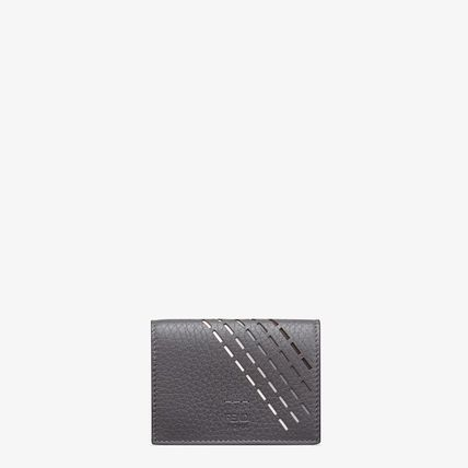 FENDI SELLERIA Plain Leather Folding Wallet Logo Folding Wallets