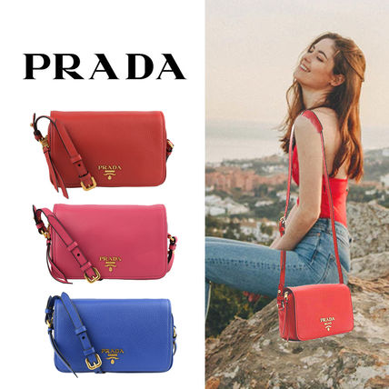 PRADA Casual Style Unisex Vanity Bags Plain Leather Party Style
