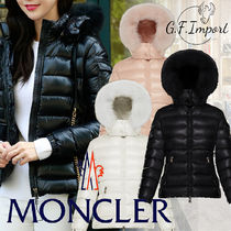 MONCLER BADYFUR Short Nylon Fur Plain Logo Down Jackets