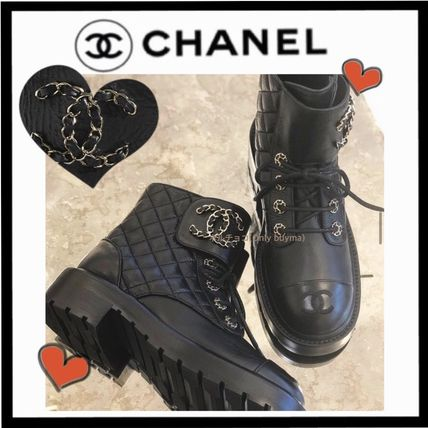 CHANEL ICON Lace-up Casual Style Chain Plain Leather Lace-up Boots