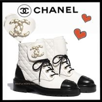CHANEL ICON Lace-up Casual Style Bi-color Chain Plain Leather