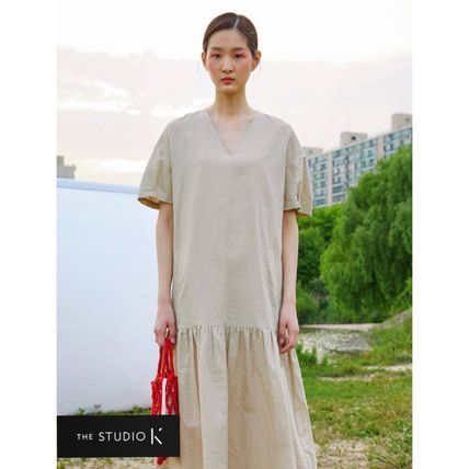 Casual Style Linen Flared V-Neck Plain Cotton Long