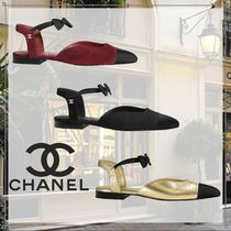 CHANEL Open Toe Blended Fabrics Plain Party Style Elegant Style