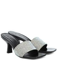 by FAR Open Toe Square Toe Casual Style Plain Leather Block Heels