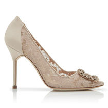 Manolo Blahnik Blended Fabrics Leather Pin Heels Party Style With Jewels