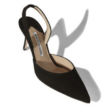 Manolo Blahnik Suede Plain Leather Pin Heels Party Style Office Style