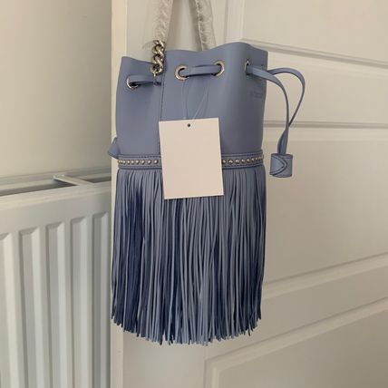 Calfskin Studded Chain Plain Leather Fringes Shoulder Bags