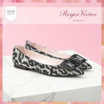 Roger Vivier Leopard Patterns Blended Fabrics Logo Ballet Shoes