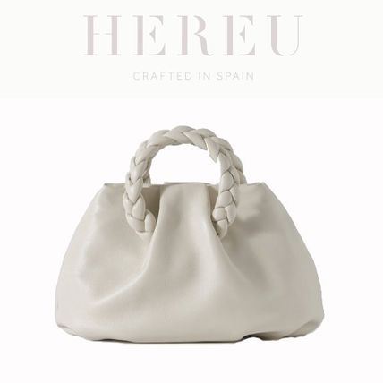 Casual Style Canvas Lambskin 2WAY Plain Leather Party Style