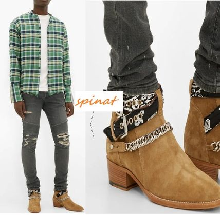 Paisley Plain Toe Moccasin Suede Street Style Chain