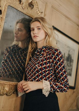 Long Sleeves Elegant Style Front Button Shirts & Blouses
