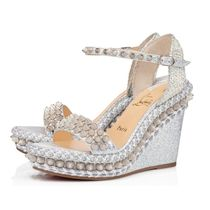 Christian Louboutin Open Toe Casual Style Leather Party Style Elegant Style