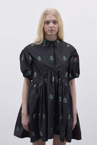 CECILIE BAHNSEN Short Flower Patterns Casual Style A-line Silk Short Sleeves
