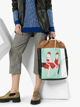 Plan C Casual Style Blended Fabrics A4 Leather Totes