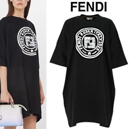 FENDI Crew Neck Rib Cotton Long Short Sleeves Oversized Logo