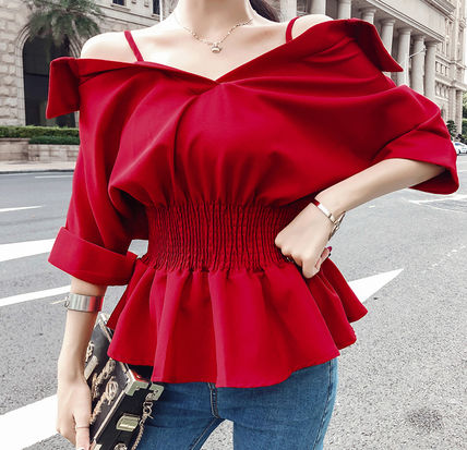 Casual Style Peplum Plain Off the Shoulder