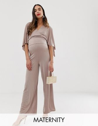 ASOS Blume Maternity Wide Leg Jersey Pants In Mauve Two-Piece