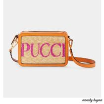 Emilio Pucci Casual Style Calfskin Blended Fabrics Leather Crossbody Logo