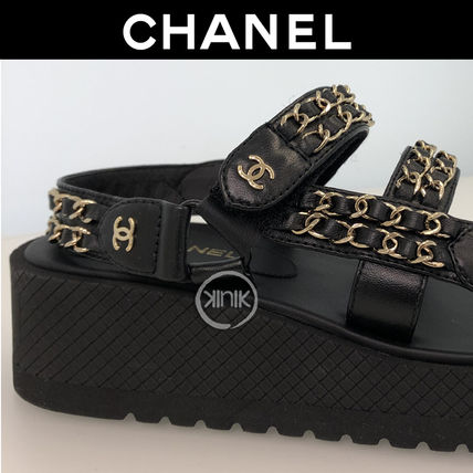 Platform Casual Style Chain Plain Leather Footbed Sandals