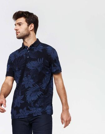 Tropical Patterns Cotton Short Sleeves Polos