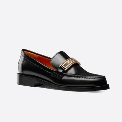 Christian Dior Rubber Sole Casual Style Unisex Plain Leather Office Style