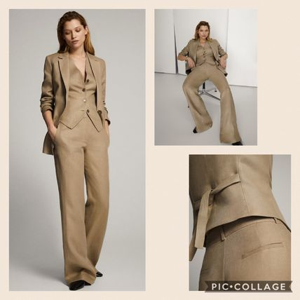 Casual Style Linen Plain Long Elegant Style Formal Style