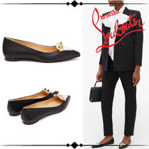 Christian Louboutin Platform Casual Style Street Style Plain Leather With Jewels