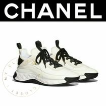 CHANEL SPORTS Street Style Plain Leather Handmade Logo Sneakers