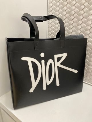 Logo Leather Street Style Totes