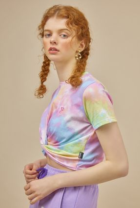 Short Tie-dye U-Neck Short Sleeves Cropped