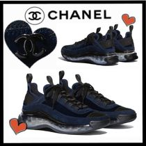 CHANEL SPORTS Unisex Suede Velvet Plain Sneakers