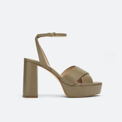 Open Toe Casual Style Plain Leather Block Heels Party Style