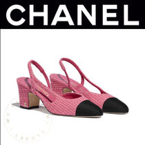 CHANEL Plain Toe Casual Style Tweed Plain Block Heels Handmade