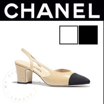 CHANEL Plain Toe Casual Style Street Style Plain Leather