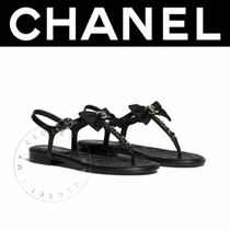CHANEL Wedge Open Toe Casual Style Street Style Plain Leather
