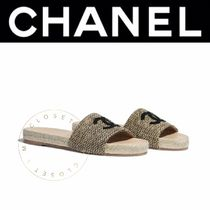 CHANEL Open Toe Casual Style Tweed Plain Elegant Style Logo Sandals