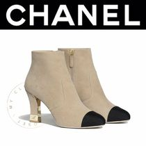 CHANEL Plain Toe Casual Style Street Style Plain Leather Handmade